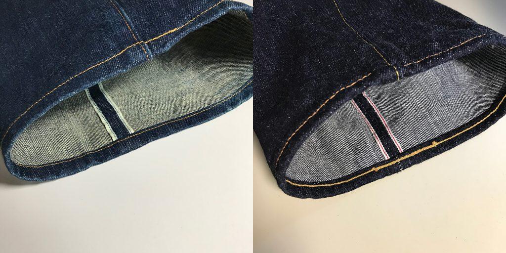 裾の縫い方:シングルステッチ(本縫い)、チェーンステッチ(環縫い)